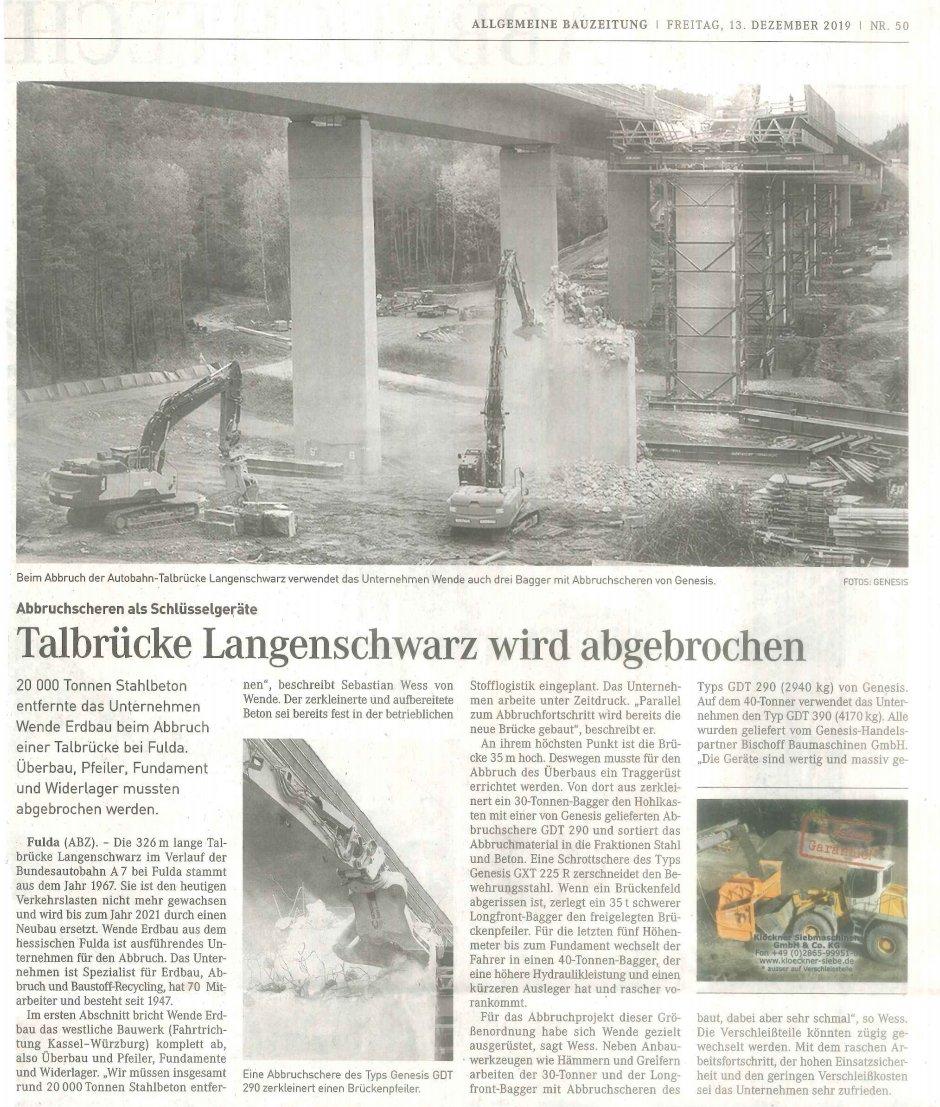Talbrücke Langenschwarz wird abgerissen